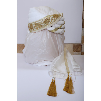 S H A H I T A J Traditional Rajasthani Wedding White Silk Pagdi Safa or Turban for Groom or Dulha (RT547)-ST670_22andHalf