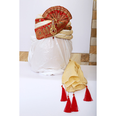 S H A H I T A J Traditional Rajasthani Wedding Red & Golden Silk Pagdi Safa or Turban with Brooch for Groom or Dulha (RT548)-ST671_23andHalf