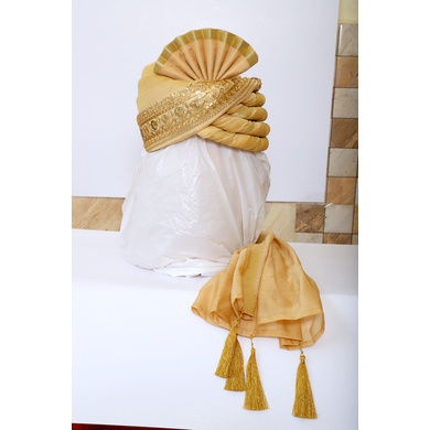 S H A H I T A J Traditional Rajasthani Wedding Golden Silk Pagdi Safa or Turban for Groom or Dulha (RT549)-ST672_21andHalf
