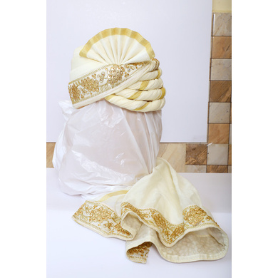 S H A H I T A J Traditional Rajasthani Wedding White & Golden Silk Pagdi Safa or Turban for Groom or Dulha (RT550)-ST673_23andHalf
