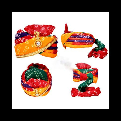 S H A H I T A J Traditional Rajasthani Cotton Multi-Colored Bandhej Wedding Barati Jodhpuri Pagdi Safa or Turban with Brooch and Pachewadi for Kids and Adults (RT154)-ST234_18andHalf