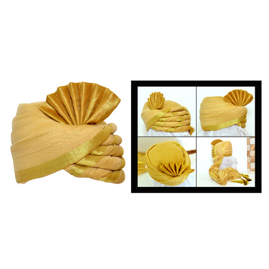 S H A H I T A J Traditional Rajasthani Wedding Golden Silk Pagdi Safa or Turban for Kids and Adults (RT555)-ST678_20andHalf