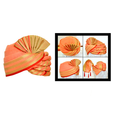 S H A H I T A J Traditional Rajasthani Wedding Peach Silk Pagdi Safa or Turban for Kids and Adults (RT556)-ST679_19andHalf