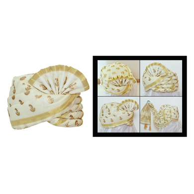 S H A H I T A J Traditional Rajasthani Wedding White Silk Pagdi Safa or Turban for Kids and Adults (RT558)-ST680_18andHalf