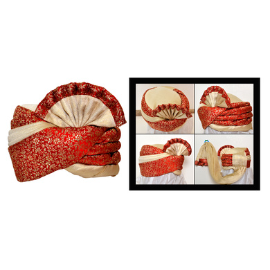 S H A H I T A J Traditional Rajasthani Wedding Red & Golden Brocade Pagdi Safa or Turban for Kids and Adults (RT559)-ST681_19andHalf