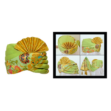 S H A H I T A J Traditional Rajasthani Wedding Multi-Colored Brocade Pagdi Safa or Turban for Kids and Adults (RT560)-ST682_23andHalf
