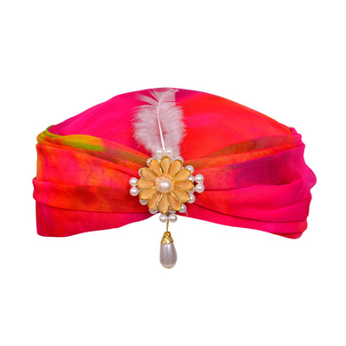 S H A H I T A J Designer Multi-Colored Silk Girls and Women Pagdi Safa or Turban for Fashion Shows & Events (DT563)-ST685_21andHalf