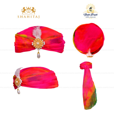 S H A H I T A J Designer Multi-Colored Silk Girls and Women Pagdi Safa or Turban for Fashion Shows & Events (DT563)-18-5
