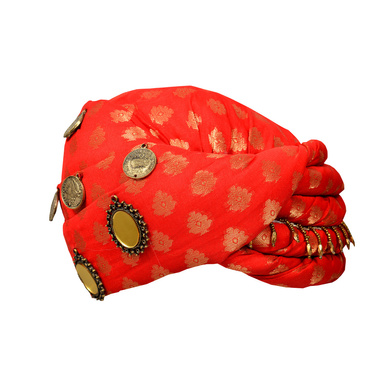 S H A H I T A J Designer Red Brocade Kids and Adults Pagdi Safa or Turban for Fashion Shows & Events (DT568)-ST690_23andHalf