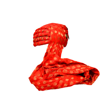 S H A H I T A J Designer Red Brocade Kids and Adults Pagdi Safa or Turban for Fashion Shows & Events (DT568)-18-4
