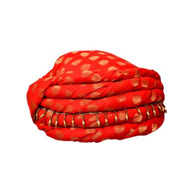 S H A H I T A J Designer Red Brocade Kids and Adults Pagdi Safa or Turban for Fashion Shows & Events (DT568)-18-3