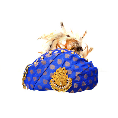 S H A H I T A J Designer Blue Brocade Kids and Adults Pagdi Safa or Turban for Fashion Shows & Events (DT569)-ST691_22andHalf