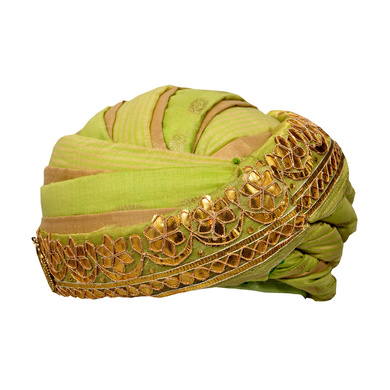 S H A H I T A J Designer Green and Golden Silk Kids and Adults Pagdi Safa or Turban for Fashion Shows & Events (DT570)-ST692_18andHalf