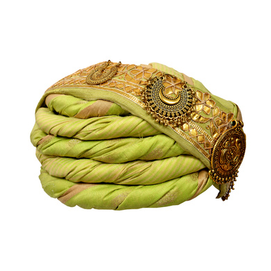 S H A H I T A J Designer Green and Golden Silk Kids and Adults Pagdi Safa or Turban for Fashion Shows & Events (DT570)-18-4