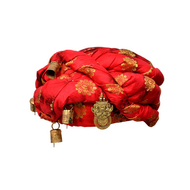 S H A H I T A J Designer Red and Black Silk Kids and Adults Rope Pagdi Safa or Turban for Fashion Show & Events (DT571)-ST693_21andHalf