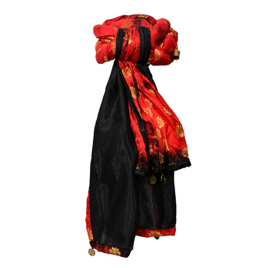S H A H I T A J Designer Red and Black Silk Kids and Adults Rope Pagdi Safa or Turban for Fashion Show & Events (DT571)-18-4