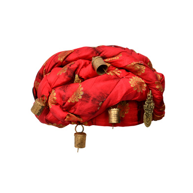 S H A H I T A J Designer Red and Black Silk Kids and Adults Rope Pagdi Safa or Turban for Fashion Show & Events (DT571)-18-3