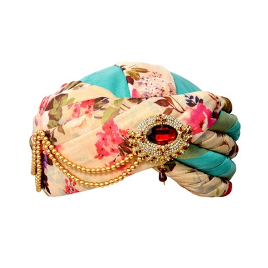 S H A H I T A J Designer Multi-Colored Floral Silk Kids and Adults Pagdi Safa or Turban for Fashion Show & Events (DT572)-ST694_21andHalf