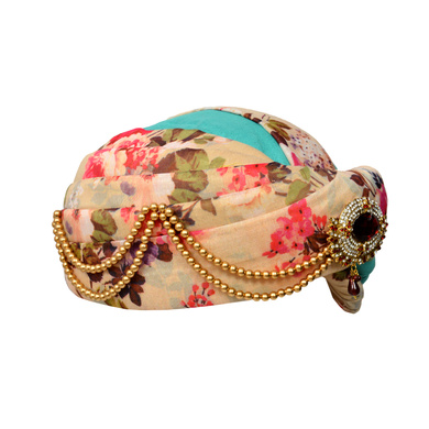 S H A H I T A J Designer Multi-Colored Floral Silk Kids and Adults Pagdi Safa or Turban for Fashion Show & Events (DT572)-18-3