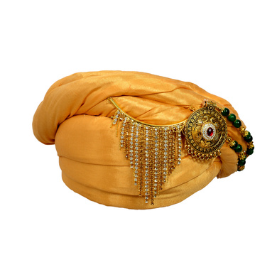 S H A H I T A J Designer Golden Silk Kids and Adults Pagdi Safa or Turban for Fashion Shows & Events (DT574)-21.5-3