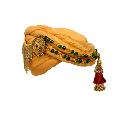 S H A H I T A J Designer Golden Silk Kids and Adults Pagdi Safa or Turban for Fashion Shows & Events (DT574)-ST698_18