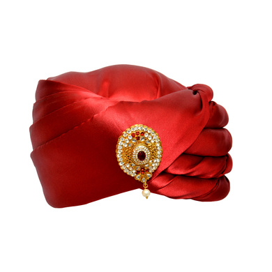 S H A H I T A J Designer Red Satin Kids and Adults Pagdi Safa or Turban for Fashion Shows & Events (DT575)-ST699_22andHalf