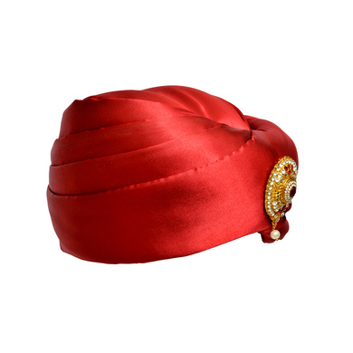 S H A H I T A J Designer Red Satin Kids and Adults Pagdi Safa or Turban for Fashion Shows & Events (DT575)-18-3