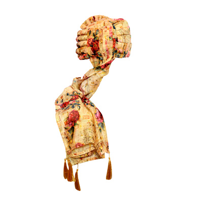 S H A H I T A J Traditional Rajasthani Wedding Multi-Colored Floral Silk Pagdi Safa or Turban for Kids and Adults (RT577)-18-4