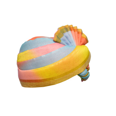 S H A H I T A J Traditional Rajasthani Wedding Multi-Colored Silk Pagdi Safa or Turban for Kids and Adults (RT578)-18-3