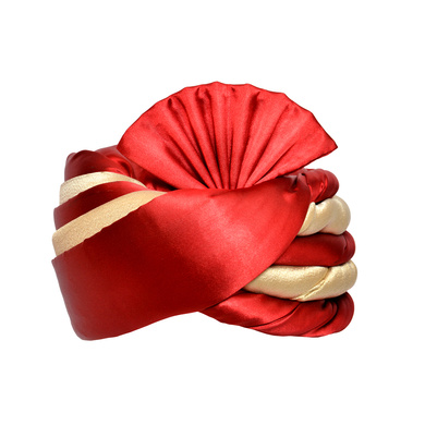 S H A H I T A J Traditional Rajasthani Wedding Red & Cream Satin Pagdi Safa or Turban for Kids and Adults (RT579)-ST703_18andHalf