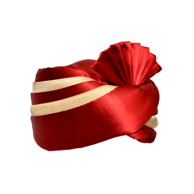 S H A H I T A J Traditional Rajasthani Wedding Red & Cream Satin Pagdi Safa or Turban for Kids and Adults (RT579)-18-3