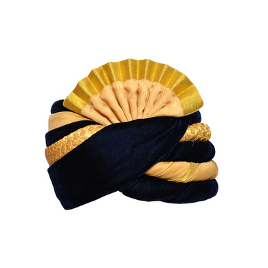 S H A H I T A J Traditional Rajasthani Wedding Blue & Cream Velvet Pagdi Safa or Turban for Kids and Adults (RT581)-ST705_18andHalf