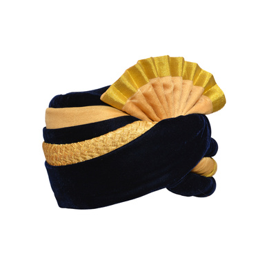 S H A H I T A J Traditional Rajasthani Wedding Blue & Cream Velvet Pagdi Safa or Turban for Kids and Adults (RT581)-18-3