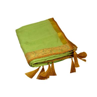 S H A H I T A J Traditional Rajasthani Wedding Pista Green Silk Stall/Dupatta/Shawl for Groom or Dulha (DS588)-ST712
