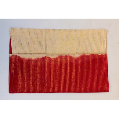 S H A H I T A J Traditional Rajasthani Red & Cream Barati/Groom/Social Occasions Straight Line Zari Cotton Pagdi Safa Turban or Pheta Cloth for Kids and Adults (CT590)-Free Size-1