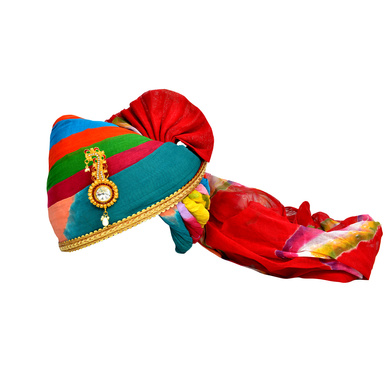 S H A H I T A J Traditional Rajasthani Jodhpuri Cotton Multi-Colored Wedding Groom or Dulha Pagdi Safa or Turban for Kids and Adults (RT605)-ST729_23