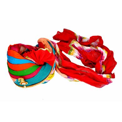 S H A H I T A J Traditional Rajasthani Jodhpuri Cotton Multi-Colored Wedding Groom or Dulha Pagdi Safa or Turban for Kids and Adults (RT605)-18.5-3