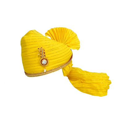 S H A H I T A J Traditional Rajasthani Jodhpuri Cotton Yellow Wedding Groom or Dulha Straight Line Pagdi Safa or Turban for Kids and Adults (RT606)-ST730_23andHalf
