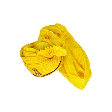 S H A H I T A J Traditional Rajasthani Jodhpuri Cotton Yellow Wedding Groom or Dulha Straight Line Pagdi Safa or Turban for Kids and Adults (RT606)-18-3