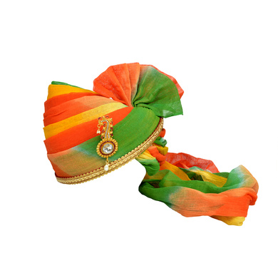S H A H I T A J Traditional Rajasthani Jodhpuri Cotton Multi-Colored Wedding Groom or Dulha Pagdi Safa or Turban for Kids and Adults (RT607)-ST731_18andHalf