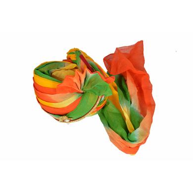 S H A H I T A J Traditional Rajasthani Jodhpuri Cotton Multi-Colored Wedding Groom or Dulha Pagdi Safa or Turban for Kids and Adults (RT607)-18-3