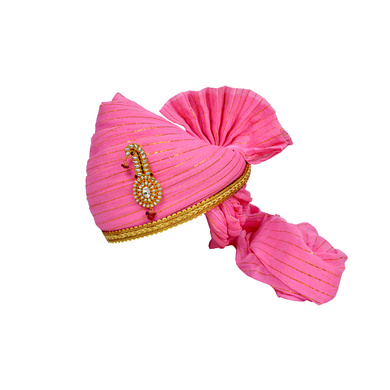 S H A H I T A J Traditional Rajasthani Jodhpuri Cotton Pink Wedding Groom or Dulha Straight Line Pagdi Safa or Turban for Kids and Adults (RT608)-ST732_20andHalf