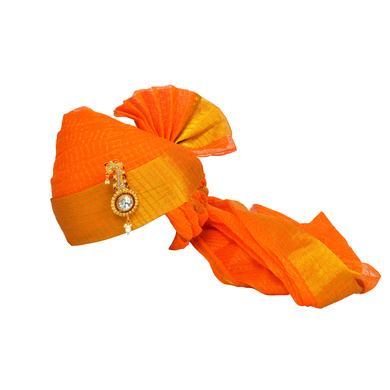 S H A H I T A J Traditional Rajasthani Jodhpuri Cotton Orange Wedding Kotadoriya for Groom or Dulha Pagdi Safa or Turban for Kids and Adults (RT609)-ST733_19andHalf