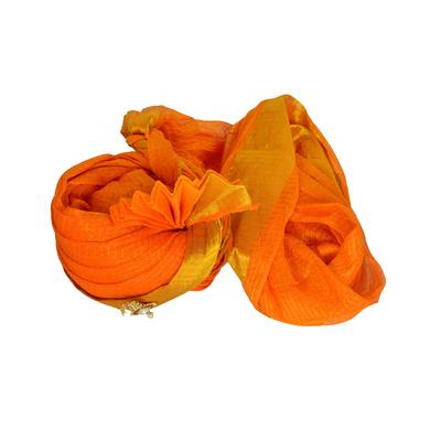 S H A H I T A J Traditional Rajasthani Jodhpuri Cotton Orange Wedding Kotadoriya for Groom or Dulha Pagdi Safa or Turban for Kids and Adults (RT609)-18-3