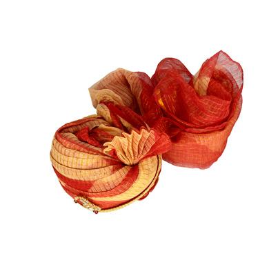 S H A H I T A J Traditional Rajasthani Jodhpuri Cotton Red & Cream Kotadoriya Wedding Groom or Dulha Pagdi Safa or Turban for and Kids and Adults (RT610)-18-3