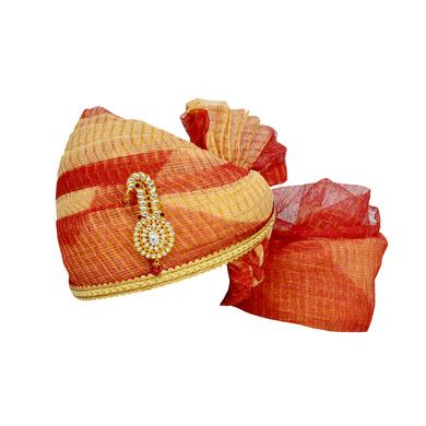 S H A H I T A J Traditional Rajasthani Jodhpuri Cotton Red & Cream Kotadoriya Wedding Groom or Dulha Pagdi Safa or Turban for and Kids and Adults (RT610)-ST734_18