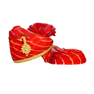 S H A H I T A J Traditional Rajasthani Jodhpuri Cotton Red Lehariya Wedding Groom or Dulha Pagdi Safa or Turban for Kids and Adults (RT611)-ST735_19andHalf