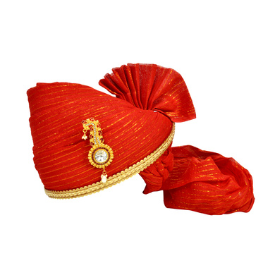 S H A H I T A J Traditional Rajasthani Jodhpuri Cotton Red Wedding Groom or Dulha Straight Line Pagdi Safa or Turban for Kids and Adults (RT612)-ST736_23andHalf