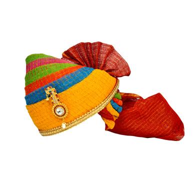 S H A H I T A J Traditional Rajasthani Jodhpuri Cotton Multi-Colored Kotadoriya Wedding Groom or Dulha Pagdi Safa or Turban for Kids and Adults (RT613)-ST737_23andHalf
