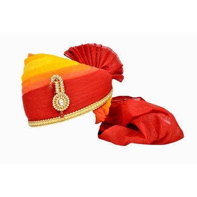 S H A H I T A J Traditional Rajasthani Jodhpuri Cotton Multi-Colored Wedding Groom or Dulha Pagdi Safa or Turban for Kids and Adults (RT614)-ST738_23andHalf